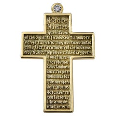 Gold Cross with Lord's Prayer in Spanish