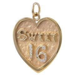 Gold and Diamond Sweet 16 Charm
