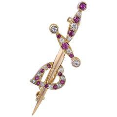 Gold, Ruby and Diamond Heart/Dagger Pin