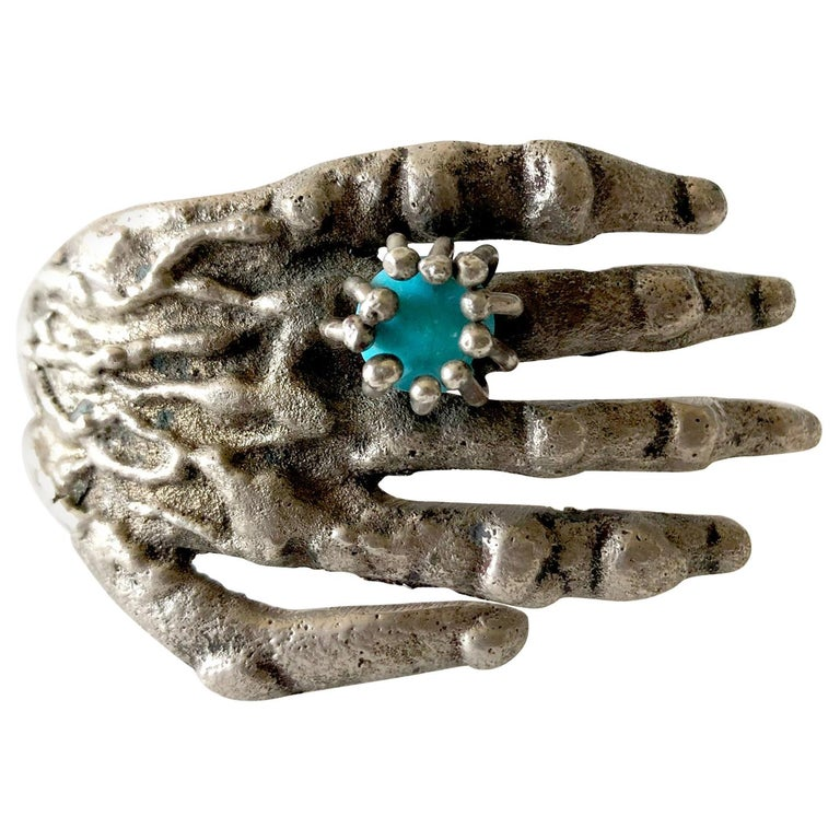 Pal Kepenyes Bronze Turquoise Mexican Surrealist Hand Cuff Bracelet For Sale
