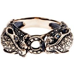Black Diamond Jaguar Ring Bronze Antique Polish J Dauphin