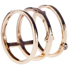 White Diamond Ring 3-Row Ring Arrow Bronze J Dauphin