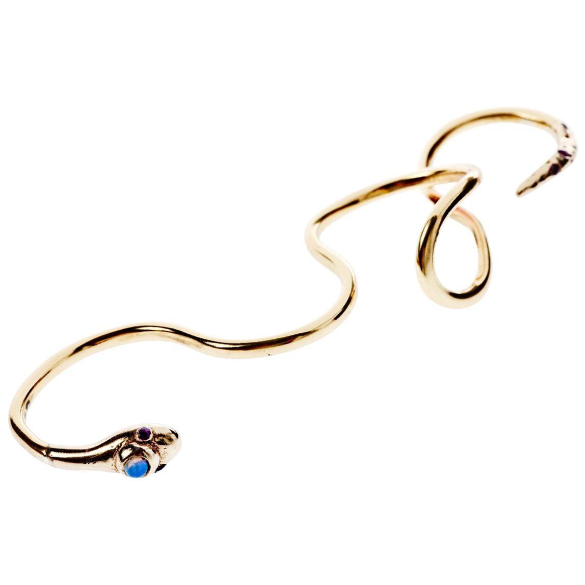 Opal Ruby Bronze Four Finger Snake Ring J Dauphin