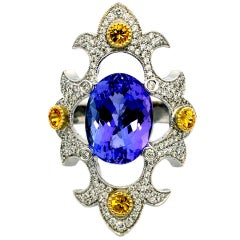William Llewellyn Griffiths Tanzanite & Sapphire Mawenzi Princess Ring
