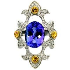 18 Carat White Gold, 10 Carat Purple Tanzanite with Yellow Sapphires