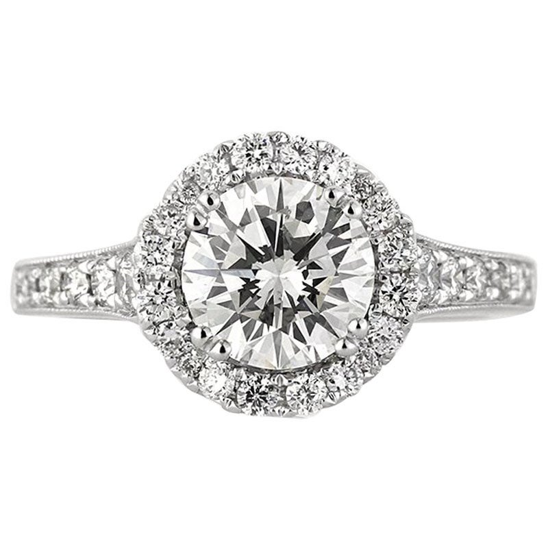 Mark Broumand 2.18 Carat Round Brilliant Cut Diamond Engagement Ring