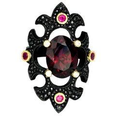 18ct Rhodium Plated Gold, Rhodolite Garnet Byzantine Ring with Ruby & Diamond