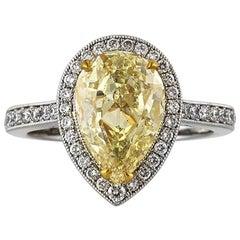 Mark Broumand 3.58 Carat Fancy Light Yellow Pear Shaped Diamond Engagement Ring