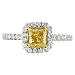 Mark Broumand 1.30 Carat Fancy Intense Yellow Radiant Cut Diamond Ring