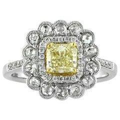 Mark Broumand 1.32 Carat Fancy Intense Yellow Radiant Cut Diamond Ring