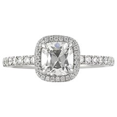 Mark Broumand 1.55 Carat Old Mine Cut Diamond Engagement Ring
