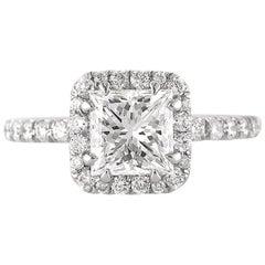 Mark Broumand 2.31 Carat Princess Cut Diamond Engagement Ring