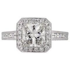 Mark Broumand 3.13 Carat Princess Cut Diamond Engagement Ring