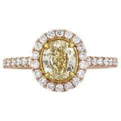 Mark Broumand 1.70 Carat Fancy Light Yellow Oval Cut Diamond Engagement Ring