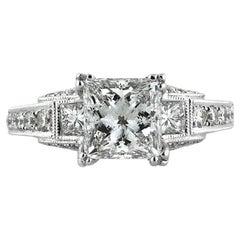 Mark Broumand 2.95 Carat Princess Cut Diamond Engagement Ring