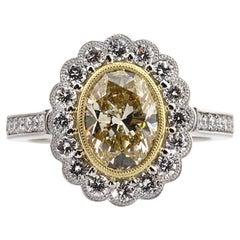 Mark Broumand 3.09 Carat Fancy Yellow Oval Cut Diamond Engagement Ring