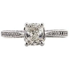 Mark Broumand 1.87 Carat Cushion Cut Diamond Engagement Ring