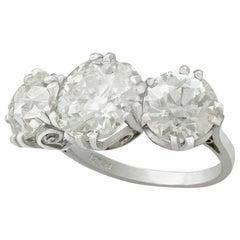 Antique and Contemporary 8.19 Carat Diamond Platinum Three-Stone Ring