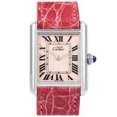 Cartier Tank Louis Must Silver Rose Strap Ladies Watch