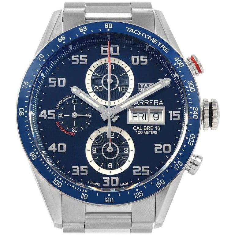 badf44e242e TAG Heuer Carrera Blue Dial Chronograph Steel Men's Watch CV2A1V For Sale