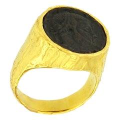 Sacchi Ancient Roman Coin Ring 18 Karat Yellow Gold Monete Signet Ring
