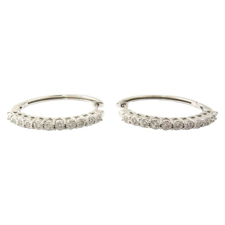 7cf35b8e25a33 10 Karat White Gold Diamond Hoop Earrings