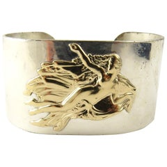 Pierre Cardin Sterling Silver and 14 Karat Gold Aphrodite Mermaid Cuff Bracelet