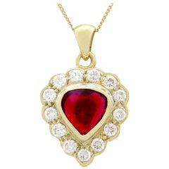 1990s 1.55 Carat Ruby and Diamond Yellow Gold Pendant