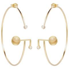 Angle Hoop Earrings Crystal Rock Crystal Cabochon Diamond
