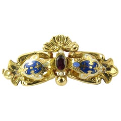 18 Karat Yellow Gold, Garnet, Seed Pearl and Enamel Brooch or Pin