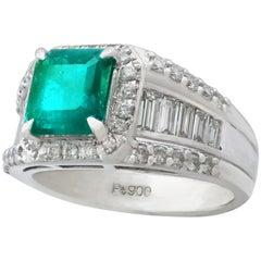 1.93 Carat Emerald Diamond Platinum Cocktail Ring