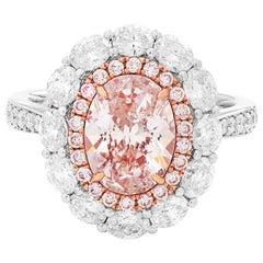 GIA Certified Light Pink 3.50 Carat Diamond Cocktail White Gold Engagement Ring