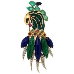 Parrot Malachite 18 Karat Yellow and White Gold Diamonds Brooch