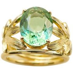 Yellow Gold 18k Palm Leaves Paraiba Turquoise Tourmaline Cocktail Ring