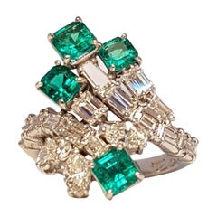 Emeralds and White Diamonds Platinum Ring