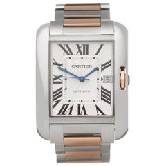 Cartier Tank Anglaise XL Stainless Steel and 18K Rose Gold W5310006 or 3507