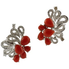 Red Coral Drops, Diamonds, 14K  White Gold Clip-on Earrings