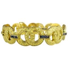 French Art Deco Sapphire 18ct Yellow Gold Vintage Bracelet