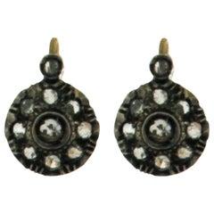18 Karat Yellow Gold Rose Cut Diamonds Drop Earrings