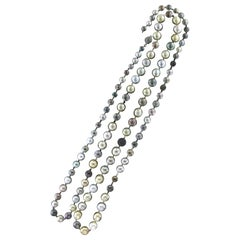 Tahitian and Australian Pearls 18 Karat White Clasp Gold One Strand Necklace