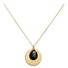 Black Diamond Disc Flutter Necklace by Allison Bryan