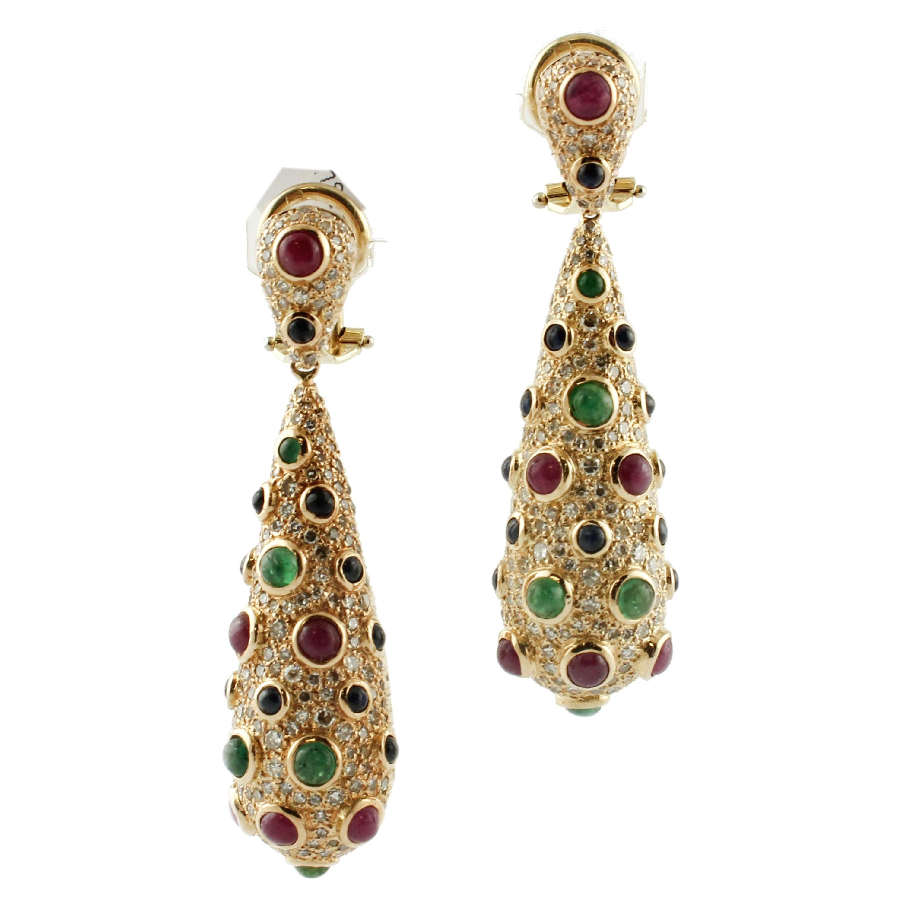 Rubies Emeralds Sapphires Diamonds Rose Gold Cocktail Earrings