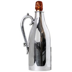 Rare 19th Century English Victorian Sterling Silver Champagne Bottle Holder