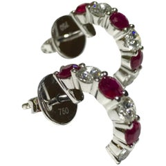 Crivelli Diamond and Ruby Hoop Earrings in 18 Karat White Gold