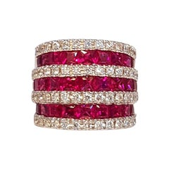 Fratelli Piccini Florence Ruby and White Diamonds 18 Karat White Gold Band Ring