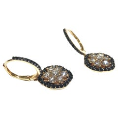 Crivelli Drop Earrings in 18 Karat Pink Gold with White and Black Diamonds