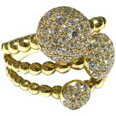 Crivelli 18 Karat Yellow Gold 3 Disc Pave Ring