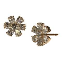 Crivelli Flower Diamond Earrings Set in 18 Karat Pink Gold with White Diamonds