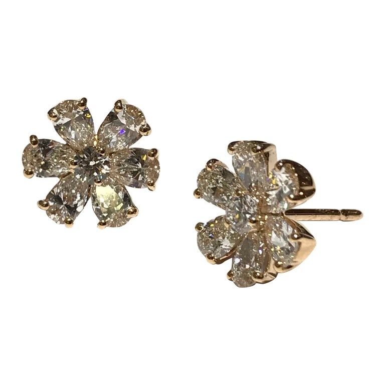 Crivelli Flower Diamond Earrings Set in 18 Karat Pink Gold with White Diamonds For Sale