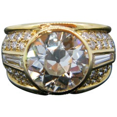 4.83 Carat Vintage Old Cut Diamond Yellow Gold Ring